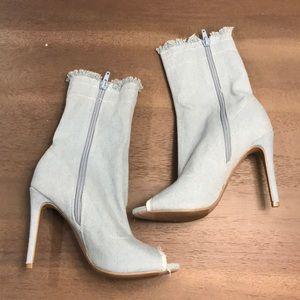 Denim High Heeled Boots